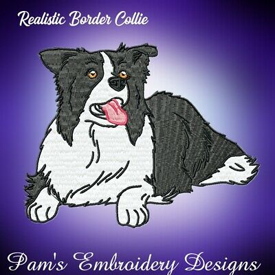 REALISTIC BORDER COLLIE 10 MACHINE EMBROIDERY DESIGNS CD or USB