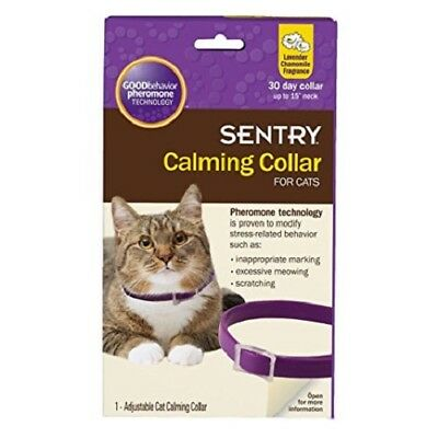 """Sentry Calming Collar for Cats up to 15"""" Neck 1 Collar Lavender Chamomile"""