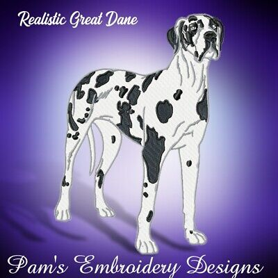 REALISTIC GREAT DANE  10 MACHINE EMBROIDERY DESIGNS CD or USB
