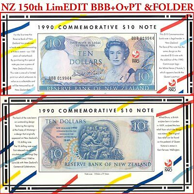 New Zealand 1990 $10 Folder BBB 00 + Red Ovpt 150th Anniv Commemorative issue