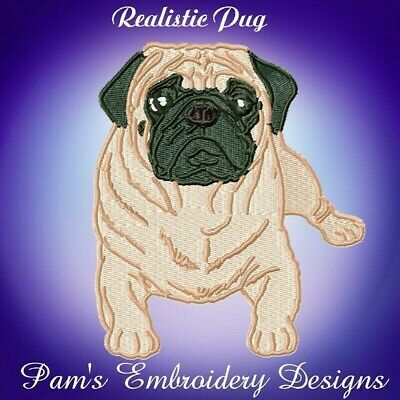 REALISTIC PUGS   10 MACHINE EMBROIDERY DESIGNS CD or USB