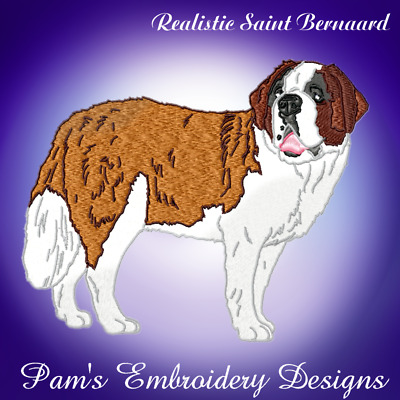 REALISTIC SAINT BERNARD 10 MACHINE EMBROIDERY DESIGNS CD or USB