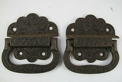 Pair of Vintage Forged Heavy Cast Iron Ornate Sea Chest Handles