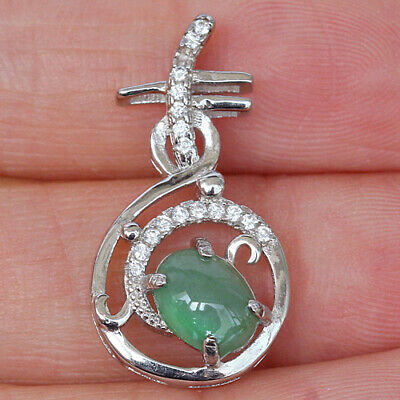 10.35Ct 925 Sterling Silver 100% Natural Grade A Jadeite Cab Pendant CYFC198