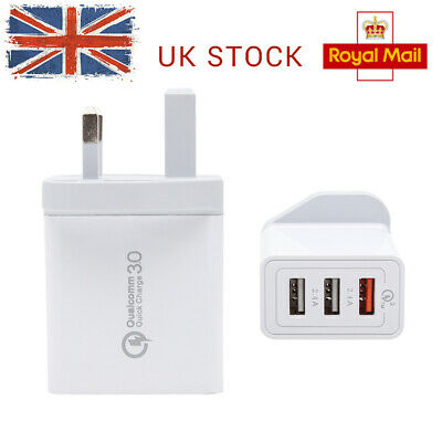 USB Wall 30W Hub Fast Adapter UK Charge 3.0 Quick Plug QC Qualcomm Charger 3Port