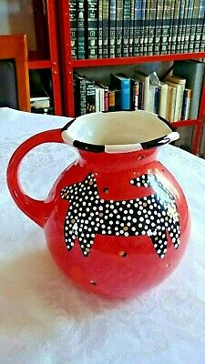 Gorgeous Hand Painted Berryware USA Red Pitcher Spotted Dog & Cat 64 fl oz