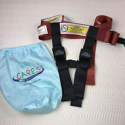 CARES Kids Fly Safe Airplane Safety Harness Seatbelt Red With Carry Bag 22-44lbs
