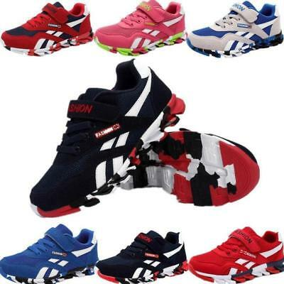 UK Boys Girls Kids Running Trainers Infants School Sports Shockproof Shoes Size