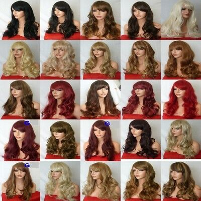 Ladies Womens Long real Natural Fashion Curly Wavy Red Burgundy Plum Black Wig G