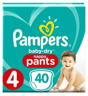 38 Pampers Baby Dry Nappy Pants Size 4  Pack of 38 Nappies 9-15kg Diaper
