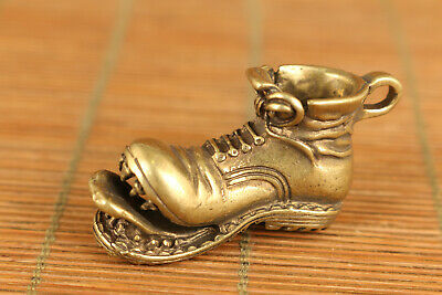 chinese copper casting mini boots statue collectable netsuke pendant collectable