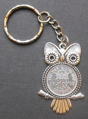 1939 80th birthday Sixpence 50% solid silver coin Owl Charm keyring gift box WW2