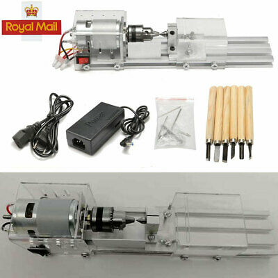 Mini UK Lathe Beads Machine Woodworking DIY Lathe Standard Set with Power DC 24V