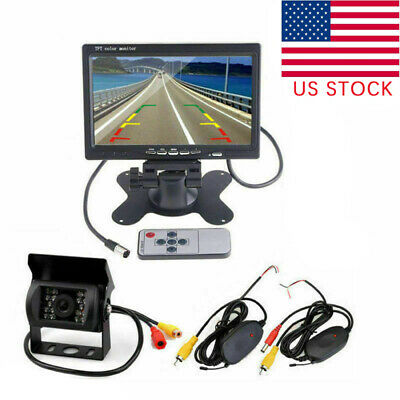 """Wireless 7""""Rear View Monitor w/ Backup Camera Night Vision Kits For RV Truck Bus"""
