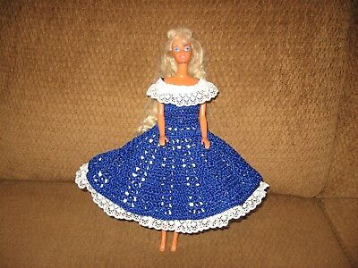New Handmade Barbie Doll Navy Dress Trimmed with White Lace