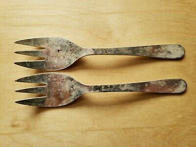 "2 Vintage Collectible ANTIQUE FORKS 5.25"",SILVER PLATED ITALY"