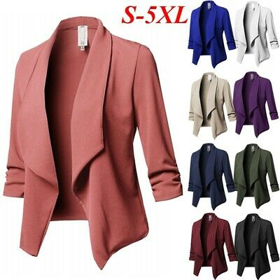 Plus Size Women Plain Jacket Tops Outwear Long Sleeve Formal Short Coats Blazer