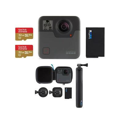 GoPro Fusion With GoPro Rechargeable Battery, 2 Pack 32GB MicroSDXC Card