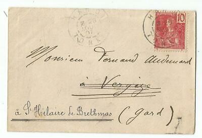 Vietnam Indochine 10C Small Cover Petite Enveloppe Hanoi 1907 To France