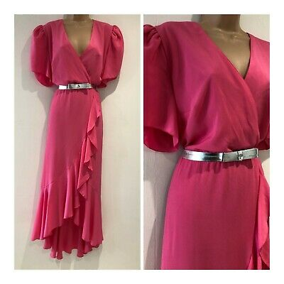 Vintage 80's Candy Pink Silver Belted Occasion Mock Wrap Maxi Dress Size 16