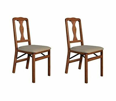 Stakmore Queen Anne Wood Folding Chairs w/ Upholstered Seat Set of 2 Cherry