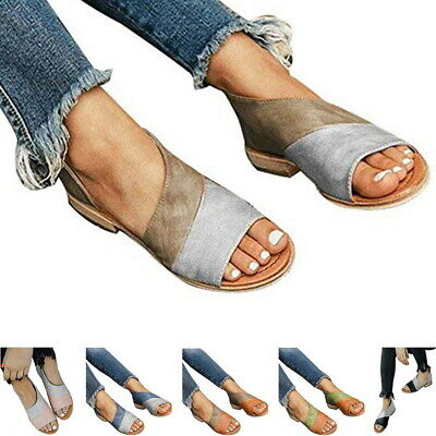 UK Womens Peep Toe Buckle Flat Sandals Ladies Summer Casual Cut Out Shoes ILC