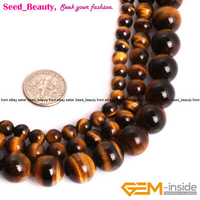 AA Grade Round Natural Tiger Eye Stone Loose Beads For Jewelry Making 15'' DIY