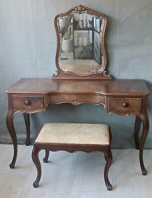 french antique dressing table and stool solid wood with mirror and glass top