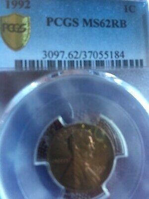 PCGS MS 62RB 1992 Lincoln cent 3097, I think it could be recertified as close AM