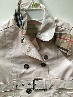 Burberry Light Pink Patent Girls Trench Coat New