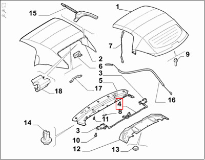 Genuine Brand New Alfa Romeo 939 Spider Roof Locking Mechanism 71746529