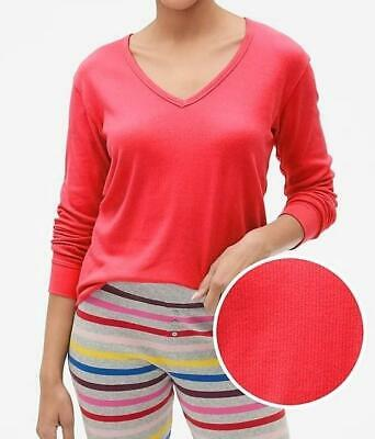 NWT Womens LOVE by GAP Long Sleeve V-Neck Ribbed T-Shirt Modal Blend Red *T5