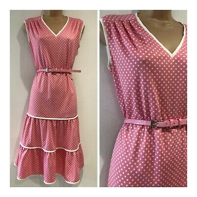 Vintage 70's Pink & White Polka Dot Sleeveless Belted Tiered Day Dress Size 16