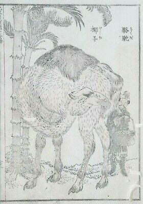 HOKUSAI MANGA - THE CAMEL -  An Original Woodblock Print (Woodcut)