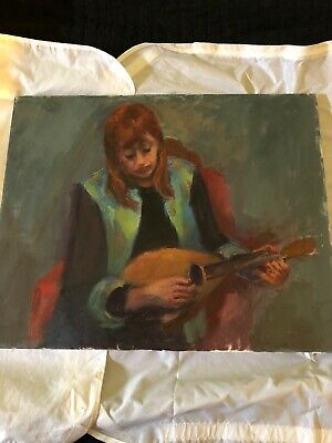 Vintage Acrylic Painting Woman Playing Guitar