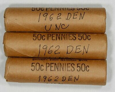 1962 D Lincoln Memorial Cent Penny Old Bank Wrapped Obw 3 Full Rolls 150 Coins