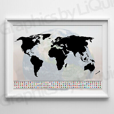 World Map Poster WALL CHART With countries New Modern Version *LAMINATION*