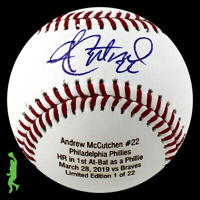 Andrew Mccutchen Autographed Signed First Hr As A Phillie Baseball Ball Bas Coa