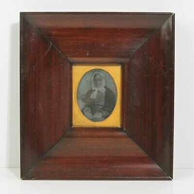 Antique Copper Cased Tintype Of Russian Grandmother In Glass Cased Wood Frame