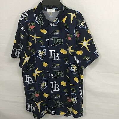 Tampa Bay Devil Rays Mens Medium Blue All Over Print Hawaiian Button Down Shirt