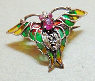 Vintage Silver Plique A Jour Butterfly Brooch With Ruby & Marcasite Gems
