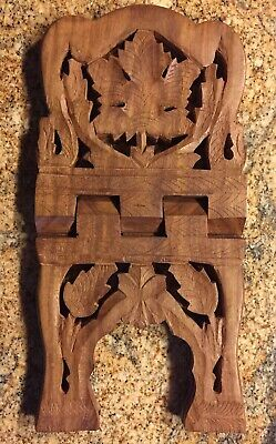 "Vintage Hand Carved Wooden Folding Stand Rack Bible Book Holder 12 3/4"" X 7 1/2"""