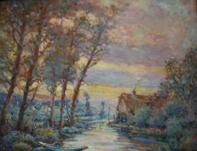 Antique French Impressionist Landscape Oil Painting WATERMILL SUNSET Inscribed