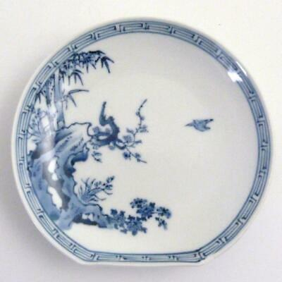 Japanese Blue And White Arita Porcelain Side Plate, Meiji Period, Signed