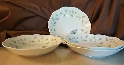 Lenox China BUTTERFLY MEADOW Flat Soup Pasta Bowls - Set of 4