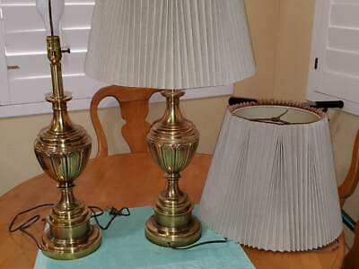 "2 (pair) Vintage Antique Brass Stiffel Table Accent Lamp 32"" tall"