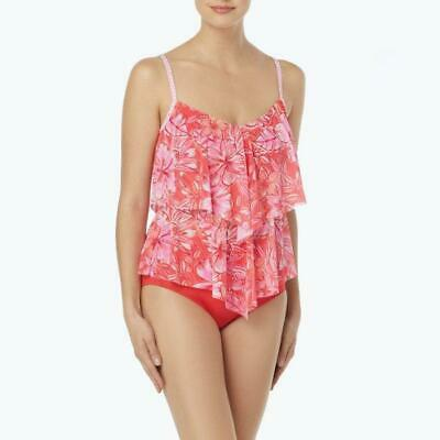 e54910e55c207 BEACH HOUSE 8 Sunset Coral Mesh Layer 2-Pc. Tankini Swim Set NWT $112