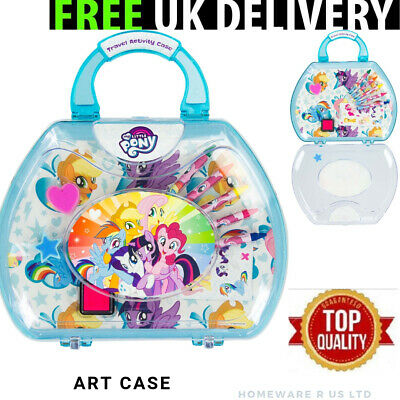 Girls Childrens My Little Pony Travel Activity Set Case Carry Handle Stickers