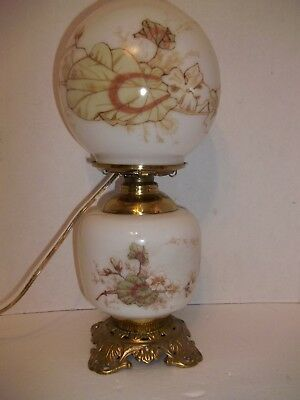 Antique Victorian HP Milk Glass Brass Hurricane GWTW Banquet Parlor Lamp 15""