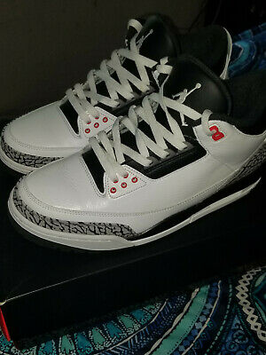pretty nice b8ce5 34326 NIKE AIR JORDAN III 3 RETRO WHITE CEMENT INFRARED 136064-123 Sz 10.5 (Pre